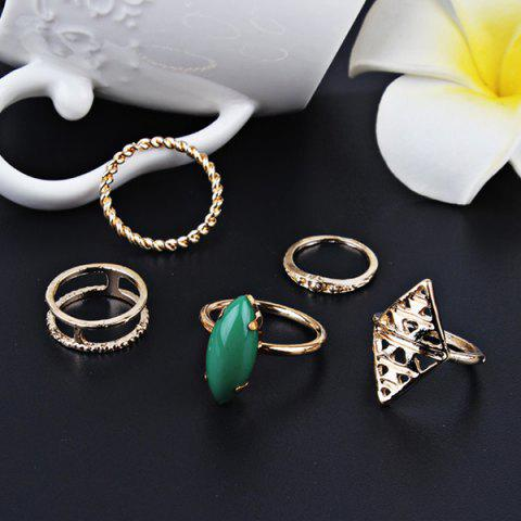Latest Faux Emerald Vintage Geometric Ring Set - GOLDEN  Mobile