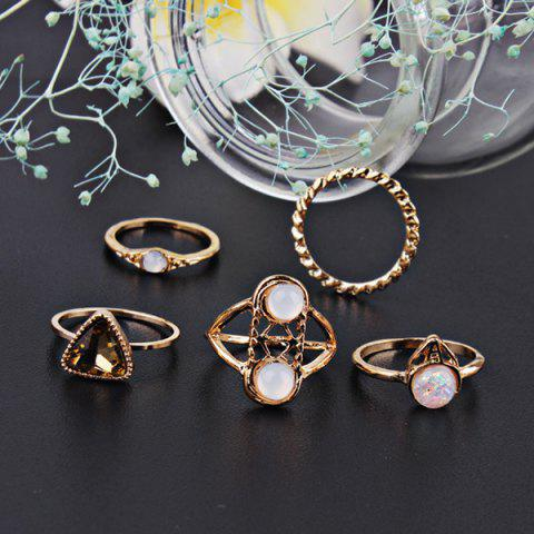 Outfits Faux Gem Circle Finger Ring Set