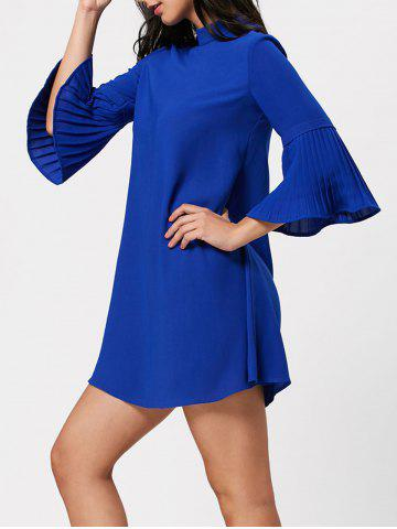 Bell Bottom Sleeve Tunic Shift Dress - Blue - 2xl