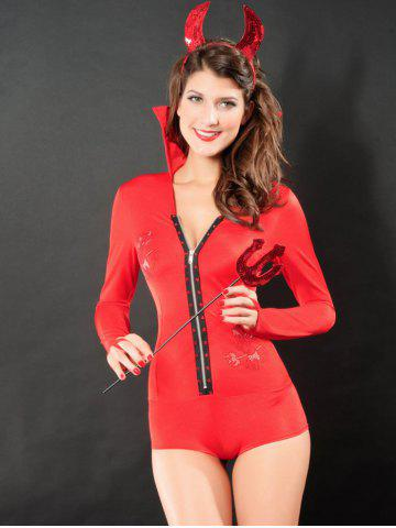 Rhinestoned Devil Cosplay Costume - Red - One Size