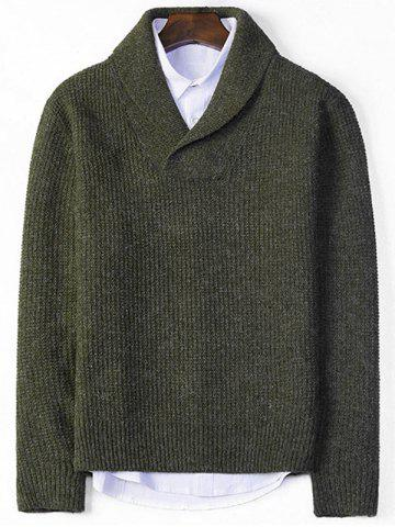 Shawl Collar Pullover Chunky Sweater - Blackish Green - M