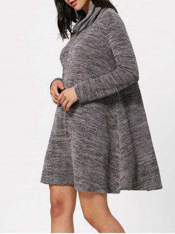 Buy Long Sleeve High Neck Casual Knit Tunic Dress - XL GRAY Mobile