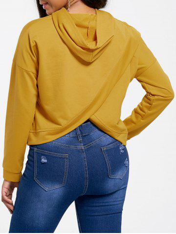 Cropped Back Slit Hoodie - Yellow - S