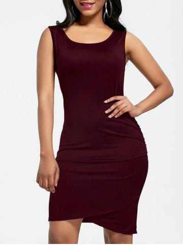 Ruched Mini Bodycon Dress - Wine Red - S