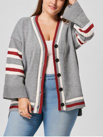 Plus Size Drop Shoulder Striped Cardigan - Gray - One Size