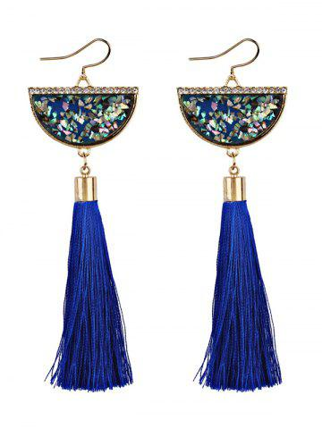 Half Round Fish Hook Earrings with Tassel Pendant - Blue