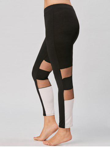 Trendy Color Block Plus Size Workout Leggings with Mesh - 2XL BLACK Mobile