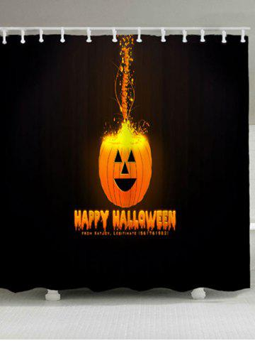 Happy Halloween Jack O Lantern Bath Curtain - Black - W71 Inch * L71 Inch