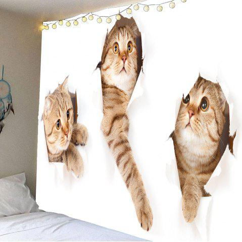 Waterproof Broken Wall and Cat Pattern Wall Hanging Tapestry - Yellow - W59 Inch * L51 Inch