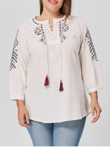 Plus Size Embroidered Lace Up Blouse - White - 3xl