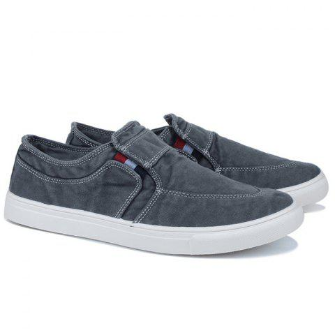 Buy Slip On Elastic Band Canvas Shoes - 43 BLUE GRAY Mobile