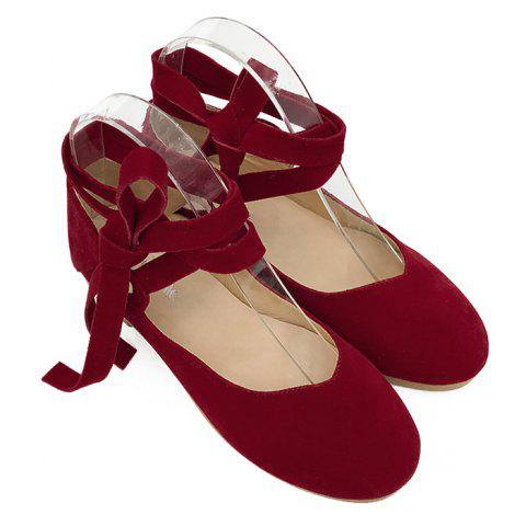 Trendy Stack Heel Round Toe Lace Up Flats - 37 RED Mobile