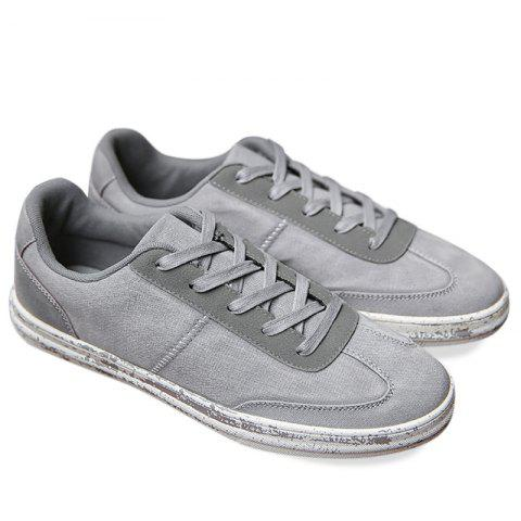 Low Top Lace Up Casual Shoes - Gray - 40