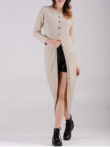Ribbed Button Down Longline Cardigan - Apricot - One Size