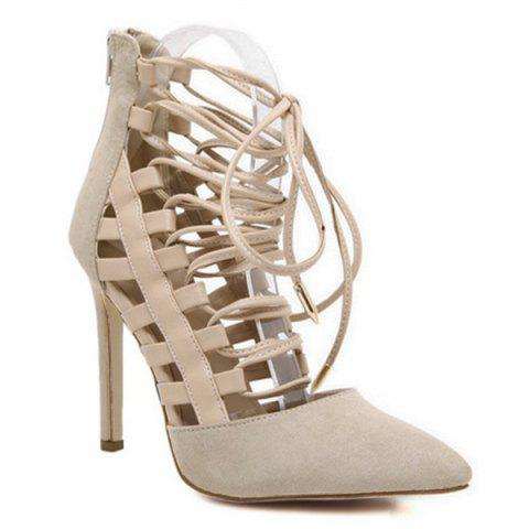 Pointed Toe Tie Up Stiletto Heel Pumps - Apricot - 38