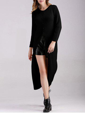 Ribbed Button Down Longline Cardigan - Black - One Size