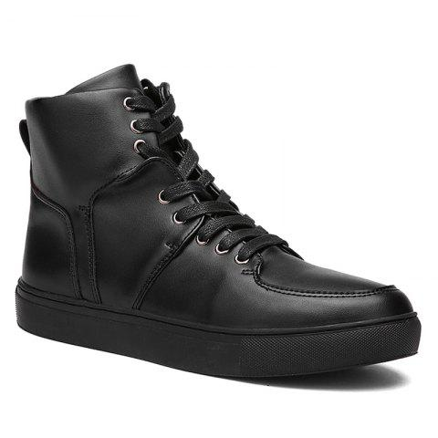Faux Leather High Top Sneakers - Black - 44