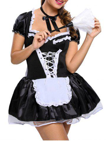 Shops Ruffles Housemaid Satin Cosplay Costume - ONE SIZE BLACK Mobile