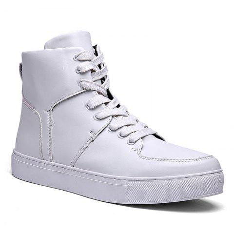 Faux Leather High Top Sneakers - White - 40