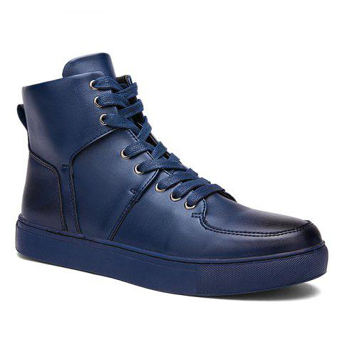 Faux Leather High Top Sneakers - Blue - 40
