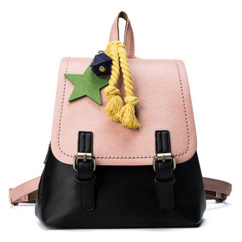 PU Leather Double Buckle Strap Backpack - Black And Pink