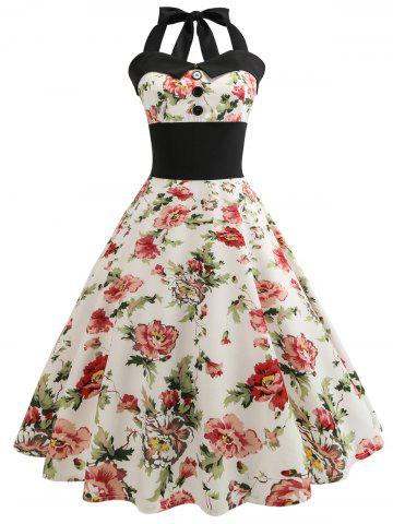 Retro Floral Print Halter Pin Up Dress - Beige - M