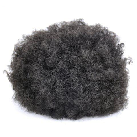 Trendy Large Fluffy Afro Curly Heat Resistant Synthetic Bun Chignon - BLACK  Mobile