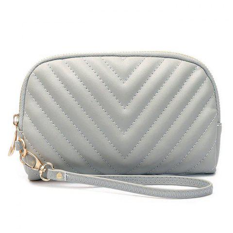 Outfits Quilted Zipper Faux Leather Clutch Bag GRAY