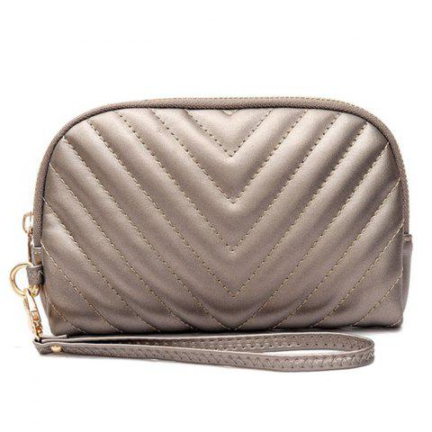 Online Quilted Zipper Faux Leather Clutch Bag CHAMPAGNE