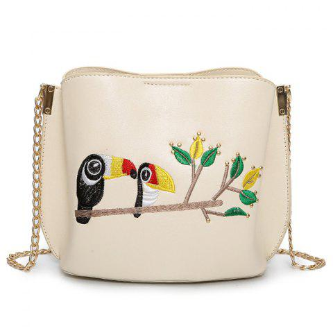 Embroidery Parrot Crossbody Bag - Off-white - 37