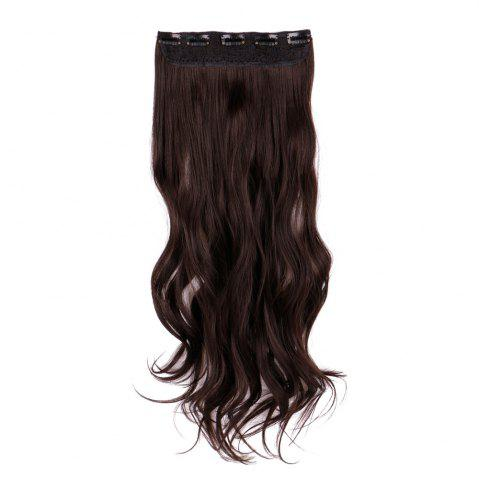 Discount Long Clip In Slightly Curly Hair Extension BROWN