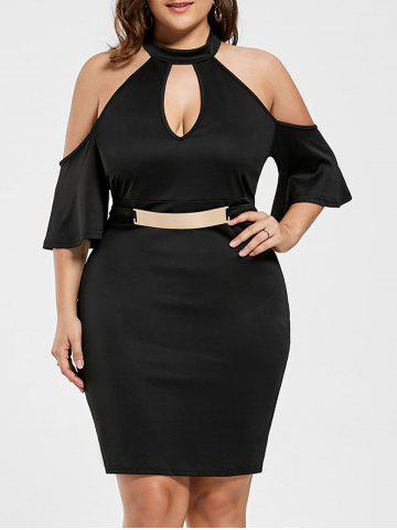 Plus Size Keyhole Cold Shoulder Dress - Black - 2xl
