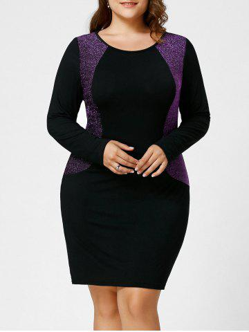 Plus Size Sparkly Long Sleeve Hourglass Dress - Black And Purple - 5xl