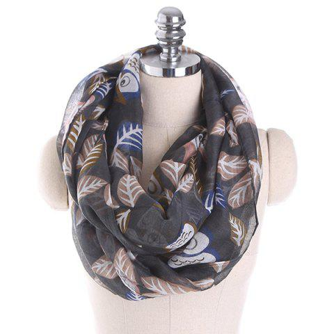 Cartoon Owl Printing Infinity Scarf - Deep Gray