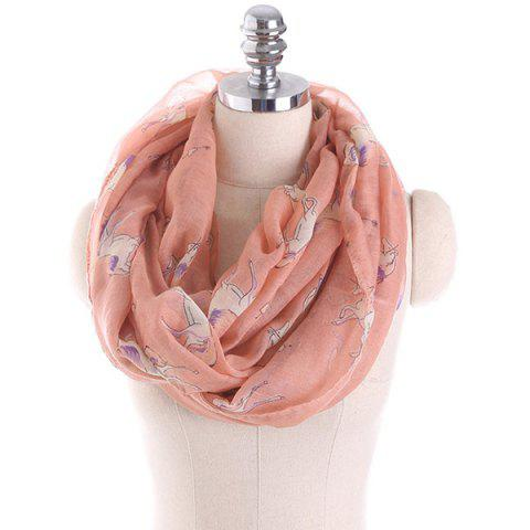 Horse Printed Infinity Scarf - Light Pink - L