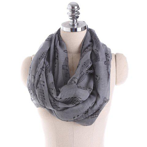 Note Stave Music Element Printed Infinity Scarf - Gray