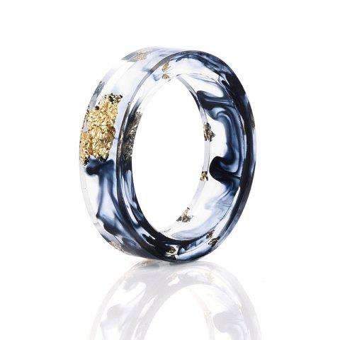 Dry Flower Chinese Ink Painting Resin Ring - Navy Blue - 9