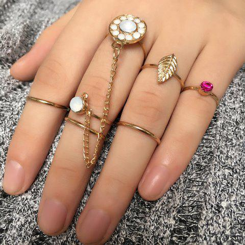 Fancy Rhinestone Leaf Slave Finger Ring Set - GOLDEN  Mobile