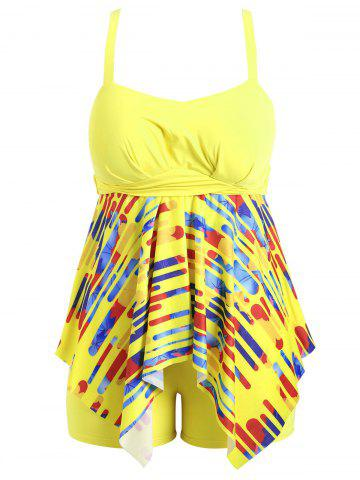 Cheap Plus Size Striped Handkerchief Tankini Set YELLOW 2XL