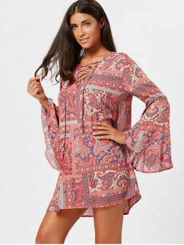 Paisley Long Flared Sleeve Tunic Swing Dress - Colormix - 2xl