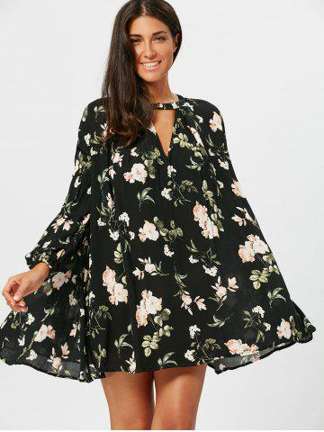 Floral Long Sleeve Tunic Swing Dress - Colormix - Xl
