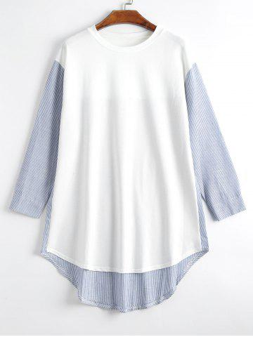 Plus Size Long Sleeve High Low Pinstripe T-shirt - Blue And White - 5xl