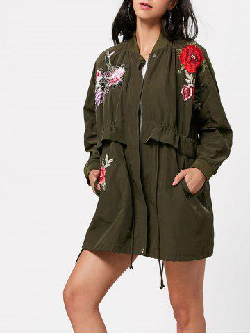 Zip Up Embroidery Coat with Pocket - Army Green - 2xl