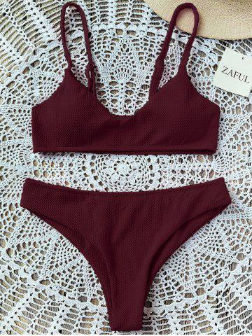 Sale Padded Bralette Bikini Set WINE RED 2XL