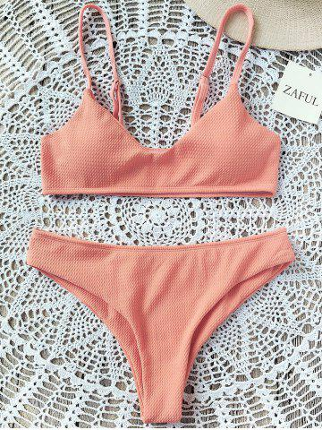 Shop Padded Bralette Bikini Set - 2XL ORANGEPINK Mobile