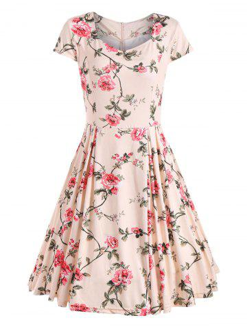 Fancy Floral Print Cap Sleeve Vintage Dress