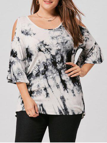 Open Shoulder Plus Size Tie Dye Top - White And Black - 3xl