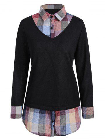 Affordable Checked Panel Plus Size Sweater - 3XL BLACK Mobile