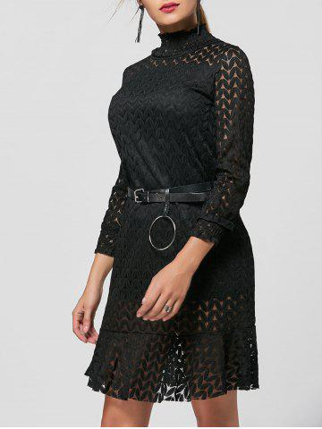 Flounce Stand Collar Lace Shift Dress - Black - S