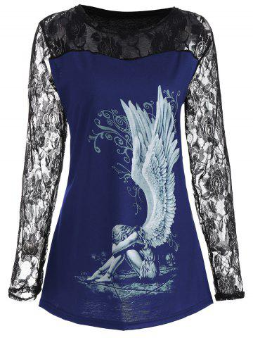 Store Lace Panel Angel Print Plus Size Top - 3XL BLUE Mobile